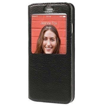 iPhone 6 / 6S Doormoon View Flip Nahkakotelo Musta