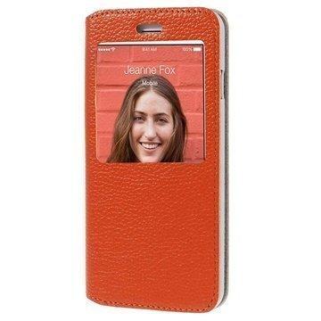 iPhone 6 / 6S Doormoon View Flip Nahkakotelo Oranssi