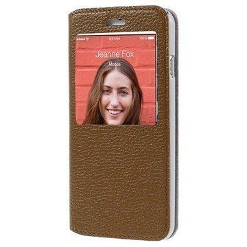 iPhone 6 / 6S Doormoon View Flip Nahkakotelo Ruskea