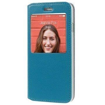 iPhone 6 / 6S Doormoon View Flip Nahkakotelo Sininen