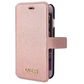 iPhone 6 / 6S Guess Saffiano Look Lompakkokotelo Pinkki