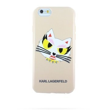 iPhone 6 / 6S Karl Lagerfeld K-Print Monster HeadShot TPU Suojakuori Beige