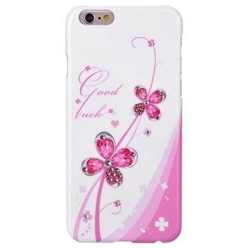 iPhone 6 / 6S Kingxbar Swarovski Crystal Suojakotelo Vaaleanpunaiset Kukat