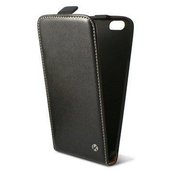 iPhone 6 / 6S Ksix Pystysuuntainen Läpällinen Nahkakotelo Musta
