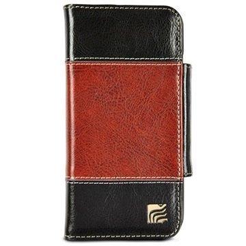 iPhone 6 / 6S Maroo The Bronson Lompakkomallinen Nahkakotelo Musta / Ruskea