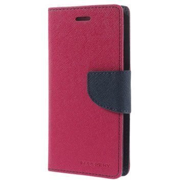 iPhone 6 / 6S Mercury Goospery Fancy Diary Lompakkokotelo Kuuma Pinkki / Musta
