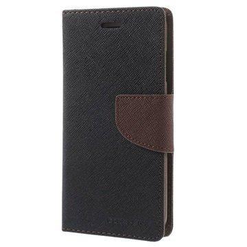 iPhone 6 / 6S Mercury Goospery Fancy Diary Lompakkokotelo Musta / Ruskea