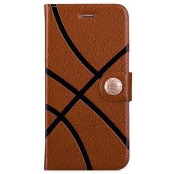 iPhone 6 / 6S Momax Sport Avattava Nahkakotelo Koripallo