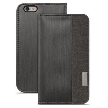 iPhone 6 / 6S Moshi Overture Avattava Nahkakotelo Musta