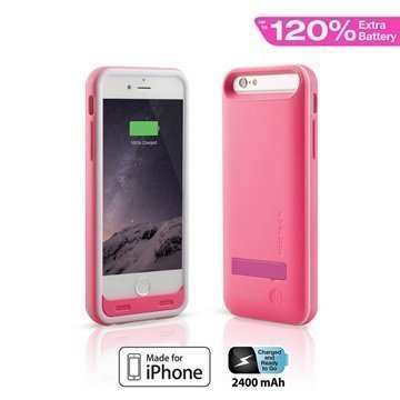 iPhone 6 / 6S Naztech Akkukotelo Vaaleanpunainen
