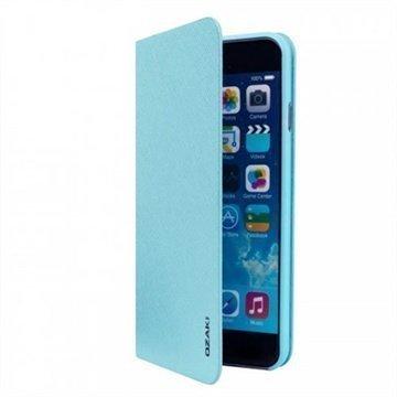 iPhone 6 / 6S Ozaki O!Coat 0.3 Folio Lompakkomallinen Nahkakotelo Vaaleansininen
