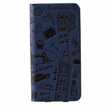 iPhone 6 / 6S Ozaki O!Coat Travel Nahkainen Suojakansio Lontoo Sininen