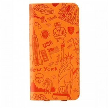 iPhone 6 / 6S Ozaki O!Coat Travel Nahkainen Suojakansio New York Oranssi