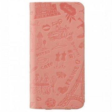 iPhone 6 / 6S Ozaki O!Coat Travel Nahkainen Suojakansio Pariisi Vaaleanpunainen