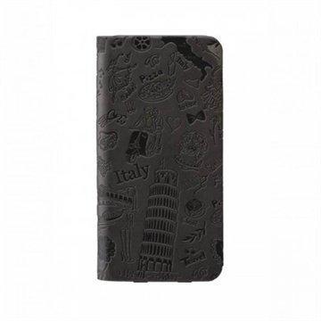 iPhone 6 / 6S Ozaki O!Coat Travel Nahkainen Suojakansio Rooma Musta