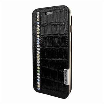iPhone 6 / 6S Piel Frama FramaSlim Läpällinen Nahkakotelo Krokotiili Swarovski Musta