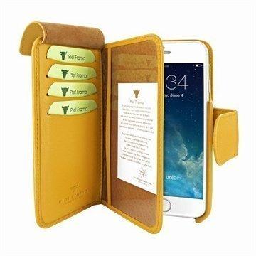 iPhone 6 / 6S Piel Frama Lompakko Nahkakotelo Keltainen