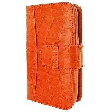 iPhone 6 / 6S Piel Frama Lompakko Nahkakotelo Krokotiili Oranssi