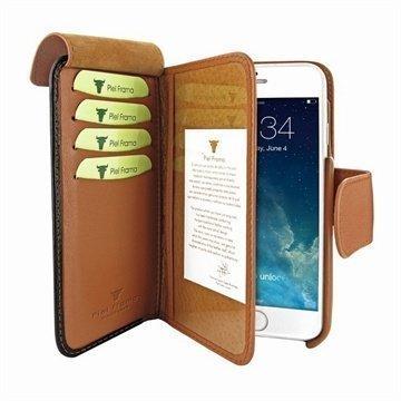 iPhone 6 / 6S Piel Frama Lompakko Nahkakotelo Musta / Ruskea