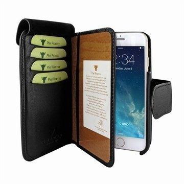 iPhone 6 / 6S Piel Frama Lompakko Nahkakotelo Musta