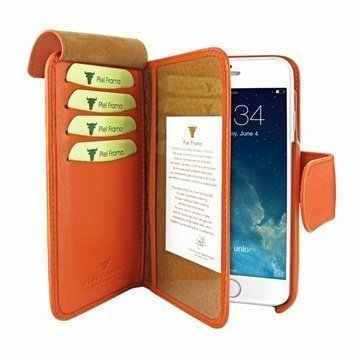 iPhone 6 / 6S Piel Frama Lompakko Nahkakotelo Oranssi