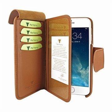 iPhone 6 / 6S Piel Frama Lompakko Nahkakotelo Ruskea