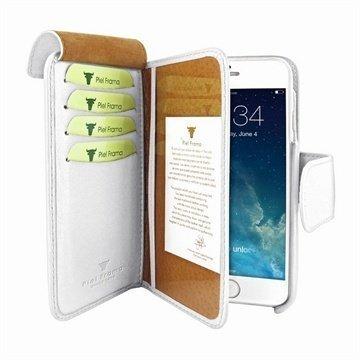 iPhone 6 / 6S Piel Frama Lompakko Nahkakotelo Valkoinen
