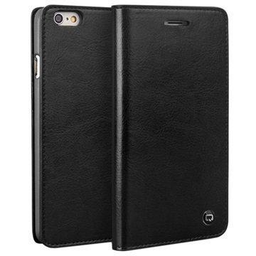 iPhone 6 / 6S Qialino Classic Lompakko Nahkakotelo Musta