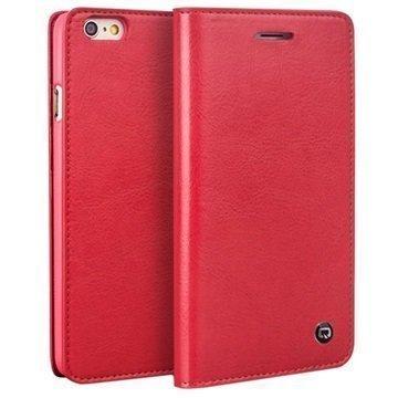 iPhone 6 / 6S Qialino Classic Lompakko Nahkakotelo Punainen