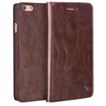 iPhone 6 / 6S Qialino Classic Lompakko Nahkakotelo Ruskea