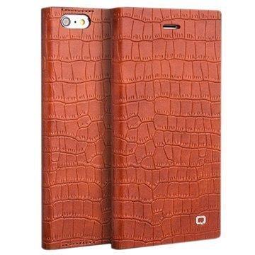 iPhone 6 / 6S Qialino Kirjamallinen Läppäkotelo Krokotiilinnahka Oranssi