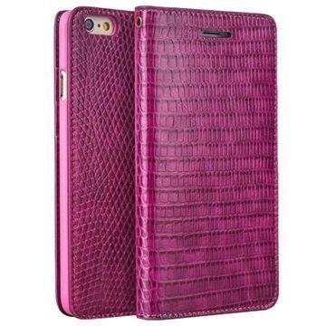 iPhone 6 / 6S Qialino Lompakkomallinen Nahkakotelo Krokotiilinnahka Kuuma Pinkki