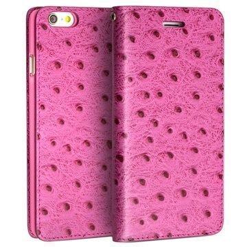 iPhone 6 / 6S Qialino Lompakkomallinen Nahkakotelo Strutsinnahka Kuuma Pinkki