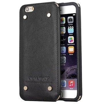 iPhone 6 / 6S Qialino Luxury Slim Nahkakotelo Musta