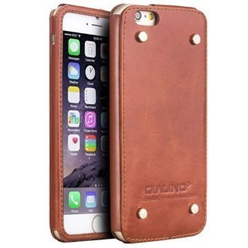 iPhone 6 / 6S Qialino Luxury Slim Nahkakotelo Ruskea