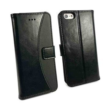 iPhone 6 / 6S Tuff-Luv Slim Stand Jalustallinen Lompakkomallinen Nahkakotelo Musta