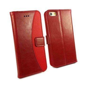 iPhone 6 / 6S Tuff-Luv Slim Stand Jalustallinen Lompakkomallinen Nahkakotelo Punainen