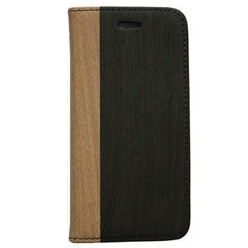 iPhone 6 / 6S UreParts Kirjamallinen Kotelo Puukuvioitu Tummanruskea / Vaaleanruskea