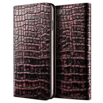 iPhone 6 / 6S VRS Design Croco Diary Nahkalompakkokotelo Ruusunpunainen