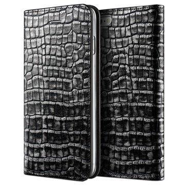 iPhone 6 / 6S VRS Design Croco Diary Nahkalompakkokotelo Tumma Hopea