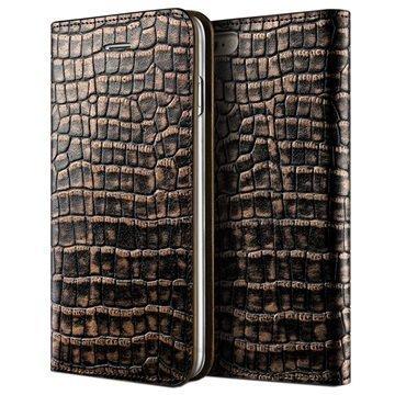 iPhone 6 / 6S VRS Design Croco Diary Nahkalompakkokotelo Tumma Kulta