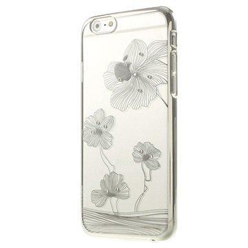 iPhone 6 / 6S X-Fitted Swarovski Crystal Suojakotelo Lootus Hopeinen
