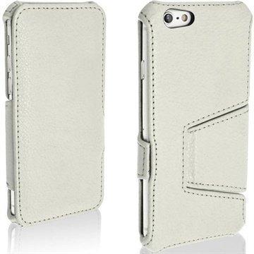 iPhone 6 / 6S iGadgitz Flip Nahkakotelo Valkoinen