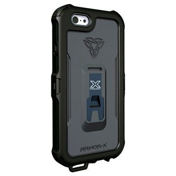 iPhone 6 Plus / 6S Plus Armor-X MX-AP5 Karbiinihakainen Vedenkestävä X-Mount Suojakotelo Musta