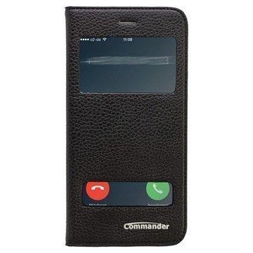 iPhone 6 Plus / 6S Plus Commander Double Window Flip Leather Case Black