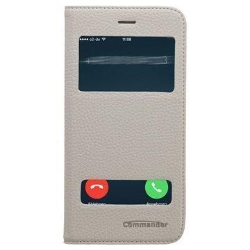 iPhone 6 Plus / 6S Plus Commander Double Window Läpällinen Nahkakotelo Valkoinen