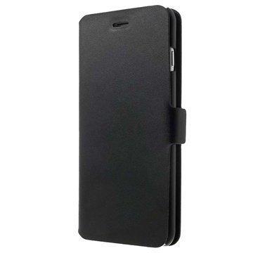 iPhone 6 Plus / 6S Plus Doormoon Nahkainen Lompakkokotelo Musta