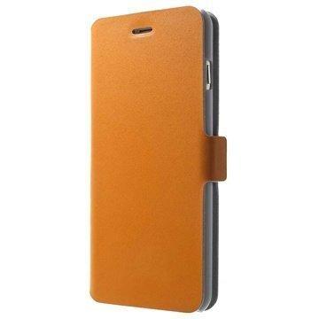 iPhone 6 Plus / 6S Plus Doormoon Nahkainen Lompakkokotelo Oranssi