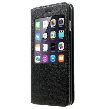 iPhone 6 Plus / 6S Plus Doormoon View Flip Nahkakotelo Musta