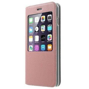 iPhone 6 Plus / 6S Plus Doormoon View Flip Nahkakotelo Pinkki